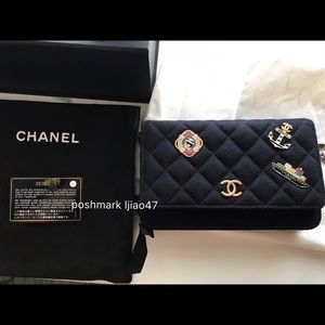 Authentic NWT Chanel woc navy wool hamburg